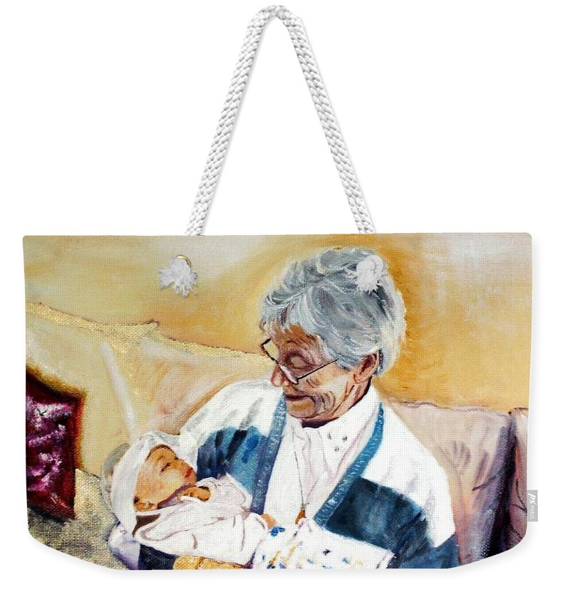 Portrait Weekender Tote Bag featuring the painting my granddaughter Leonie with her great grandmum by Helmut Rottler