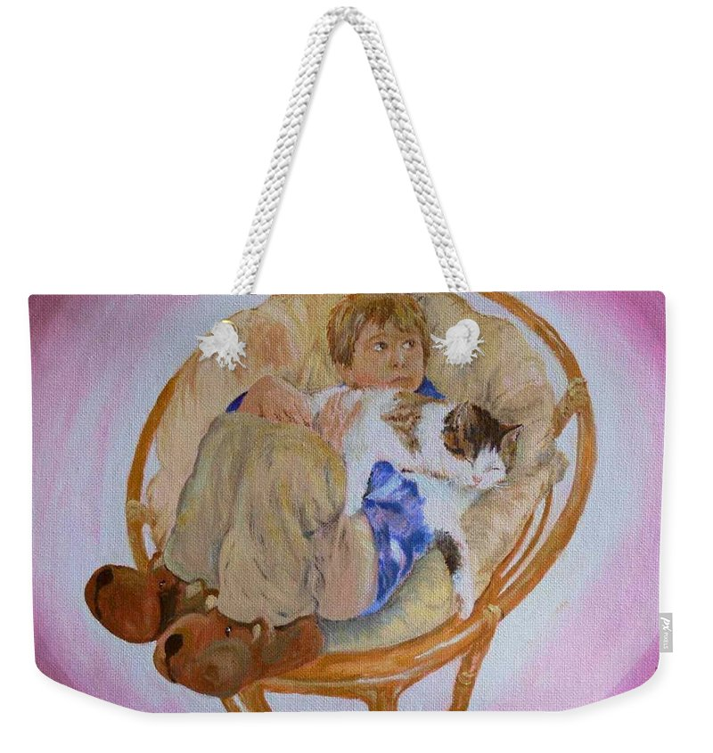 Portrait Weekender Tote Bag featuring the painting my grandson Pascal with his cat Paul by Helmut Rottler