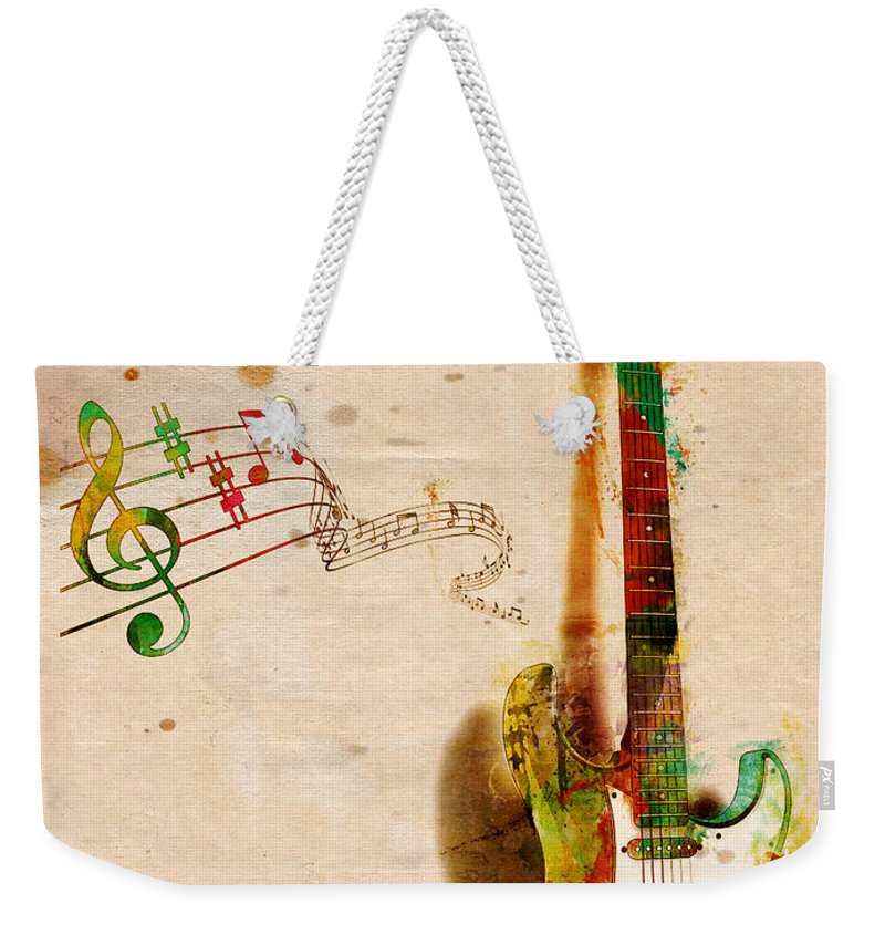 Guitar Weekender Tote Bag featuring the digital art My Guitar Can SING by Nikki Smith