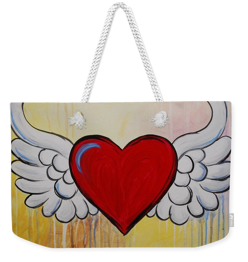Heart Weekender Tote Bag featuring the painting My Heart Has Wings by Emily Page