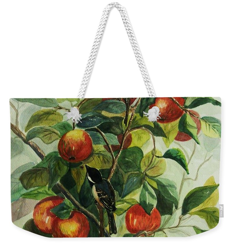 Chickadees Weekender Tote Bag featuring the painting My Little Chickadee by Marilyn Smith