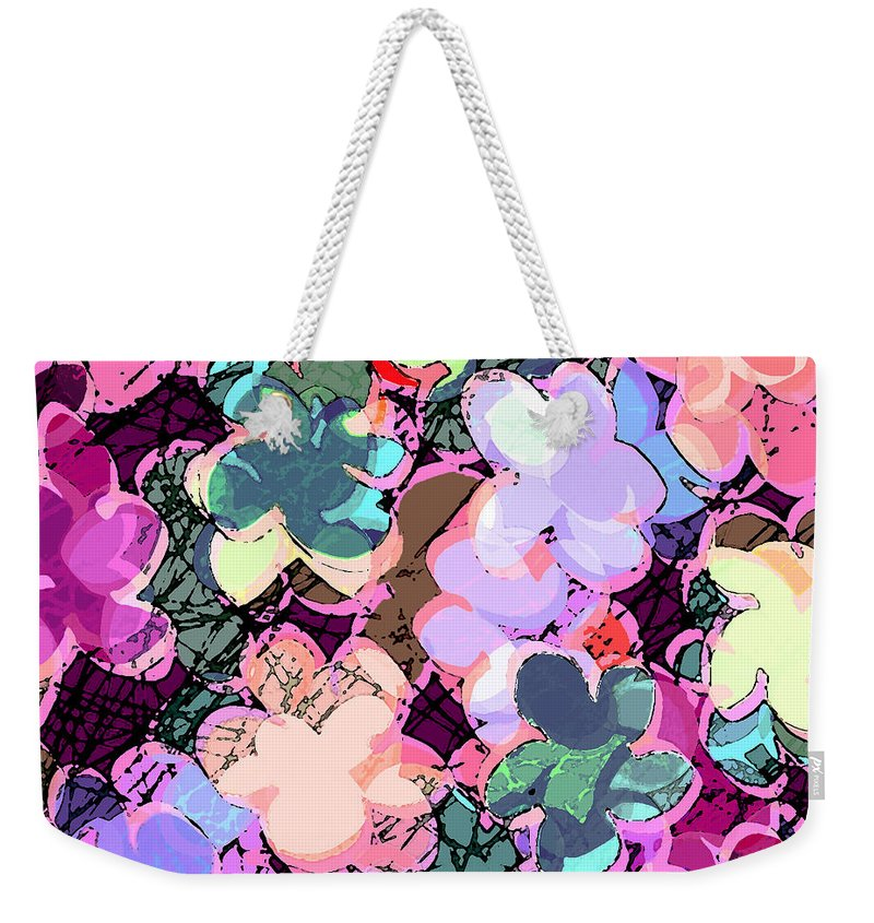 Abstract Weekender Tote Bag featuring the digital art My Little World by Rachel Christine Nowicki