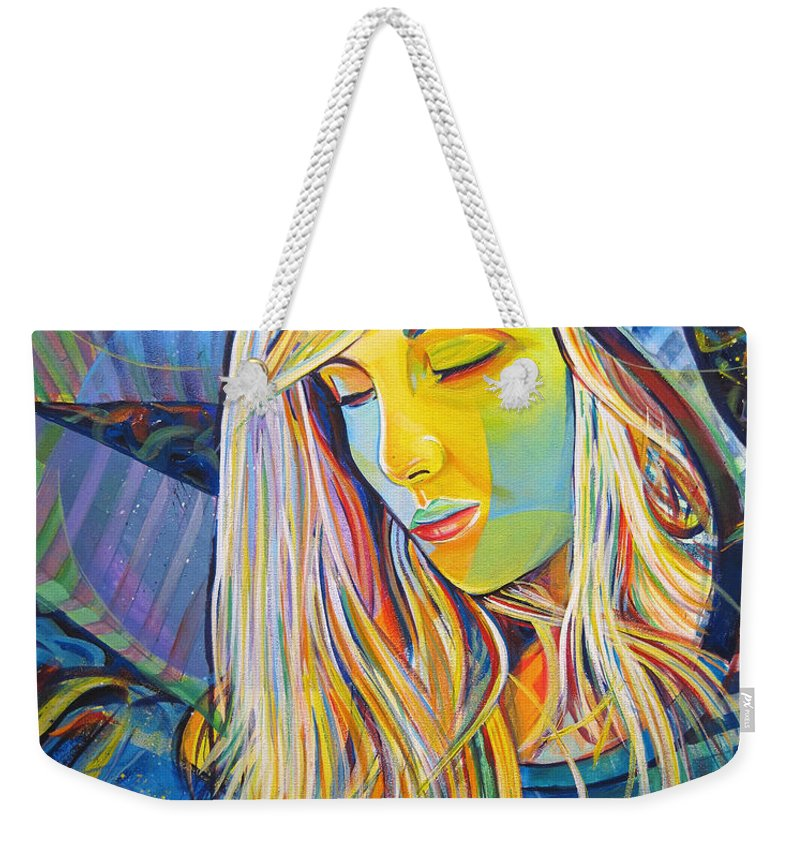 Colorful Weekender Tote Bag featuring the painting My Love by Joshua Morton