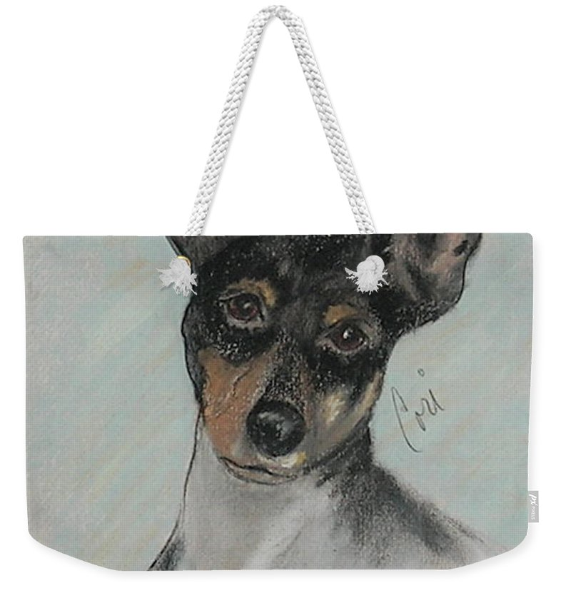 Toy Fox Terrier Weekender Tote Bag featuring the drawing My Oh My by Cori Solomon