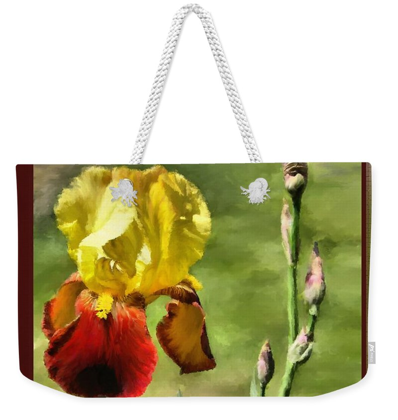 Painting Weekender Tote Bag featuring the painting My Painted Iris by Susan Kinney