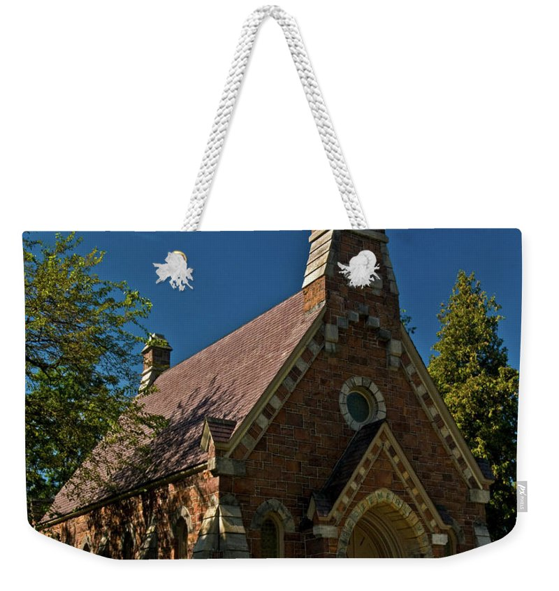 my Redeemer Lives Weekender Tote Bag featuring the photograph My Redeemer Lives Church by Paul Mangold
