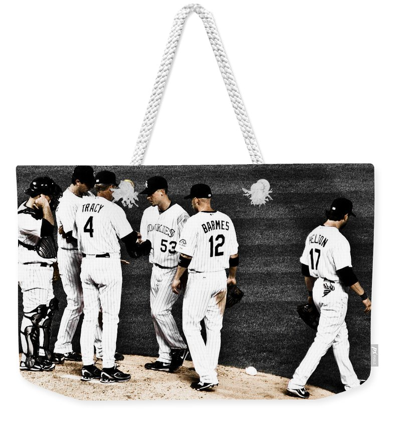 Baseball Weekender Tote Bag featuring the photograph My Rock Collection - Colorado Rockies by Marilyn Hunt