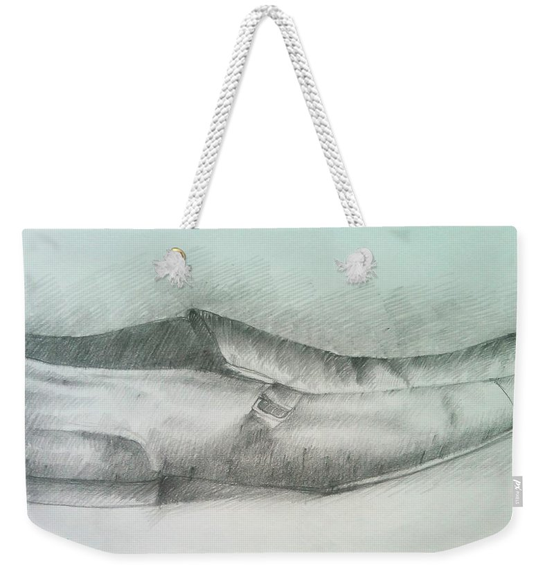 Drawings Weekender Tote Bag featuring the drawing My Shoe by Olaoluwa Smith