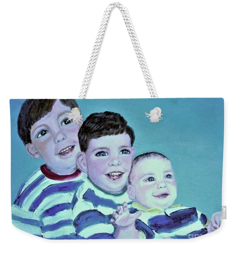 Children Weekender Tote Bag featuring the painting My Three Sons by Laurie Morgan