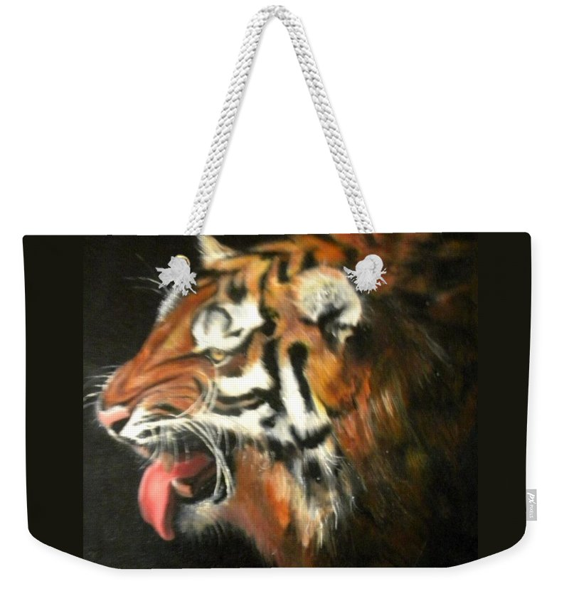 Tiger Weekender Tote Bag featuring the painting My Tiger - The Year Of The Tiger by Jordana Sands