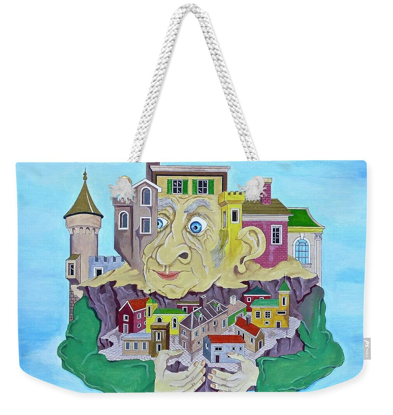 Weekender Tote Bag featuring the painting My Town by Eitan Saggi