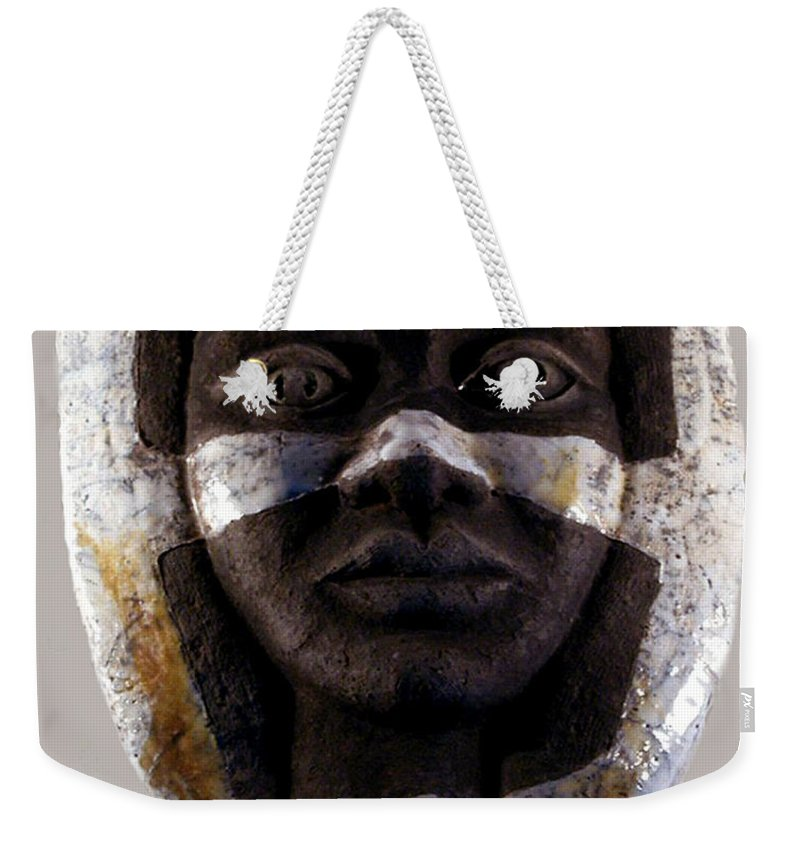 Ceramic Weekender Tote Bag featuring the relief My Veils I by Madalena Lobao-Tello