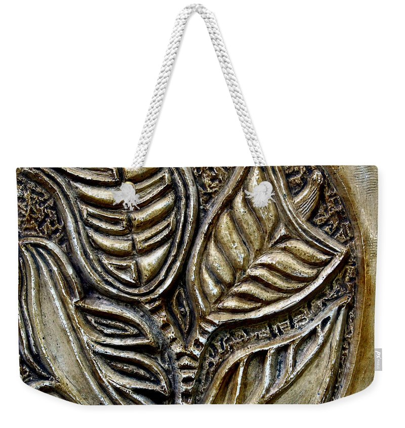 Vintaje Weekender Tote Bag featuring the relief Vintaje Tile With Calas by Madalena Lobao-Tello