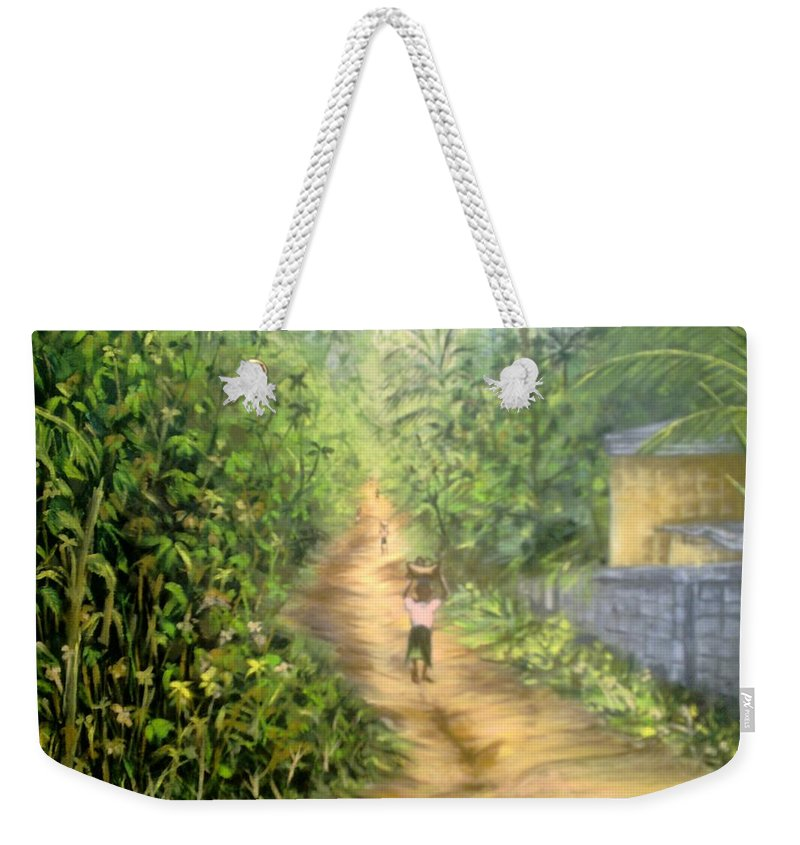 Culture Weekender Tote Bag featuring the painting My Village by Olaoluwa Smith