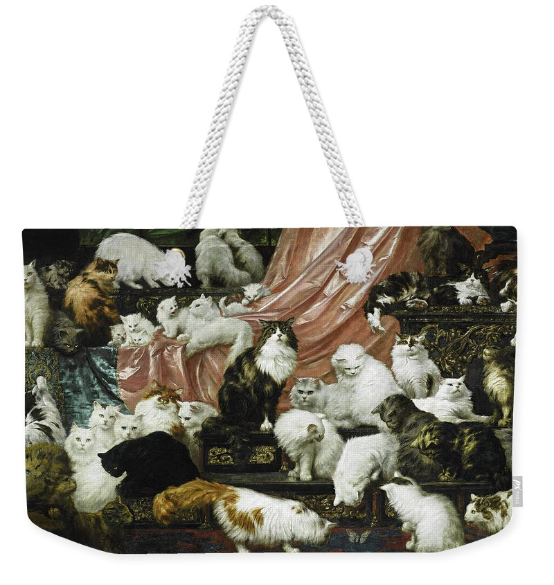 Carl Kahler Weekender Tote Bag featuring the painting My Wife's Lovers by Carl Kahler