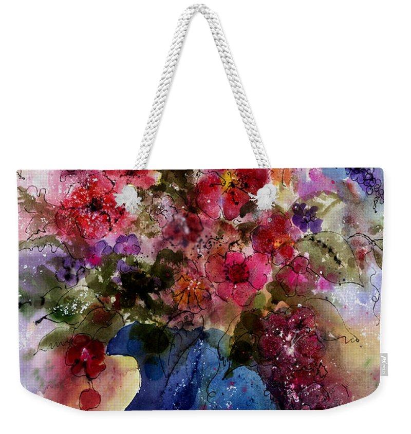 Floral Weekender Tote Bag featuring the painting My Wildflowers by Barbara Colangelo