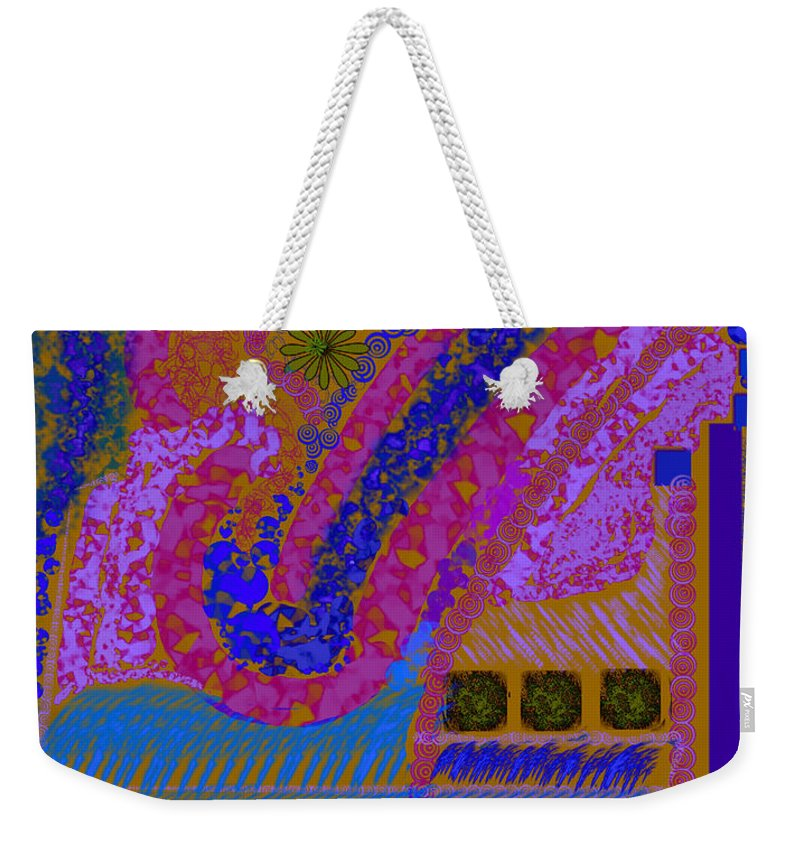 Abstract Colors Pinks Blues Fabricdesign Weekender Tote Bag featuring the digital art My Yard 2 by Suzanne Udell Levinger