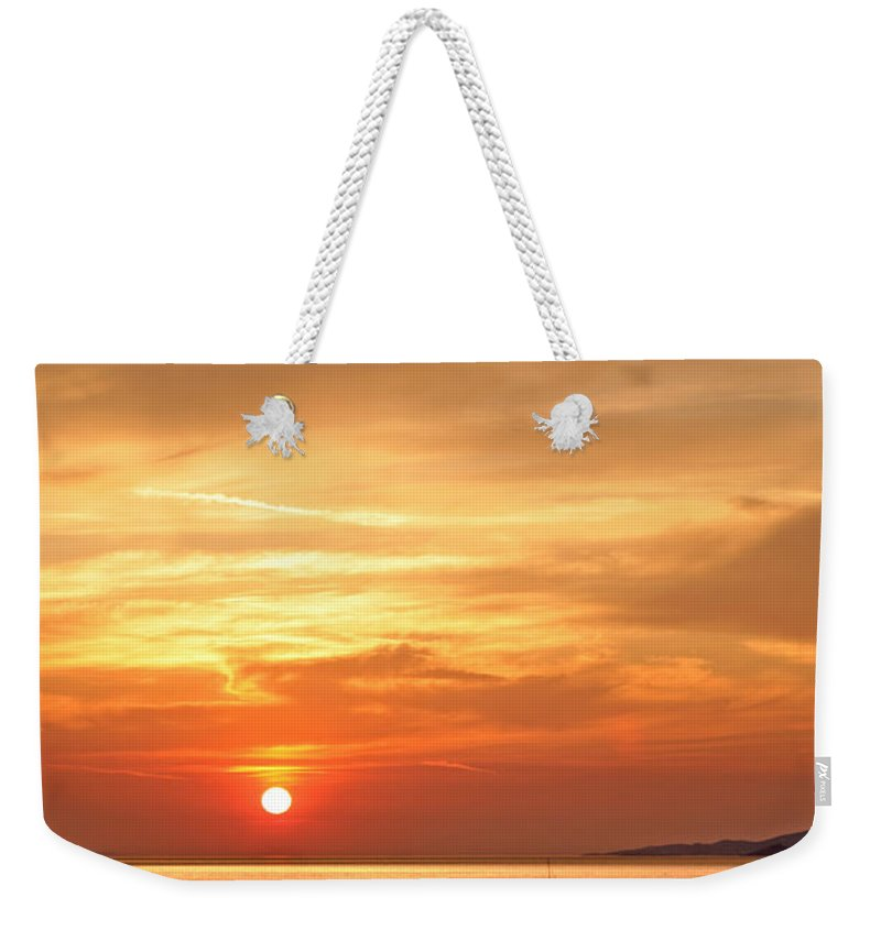 Sunset Weekender Tote Bag featuring the photograph Mykonos Sunset by Madeline Ellis