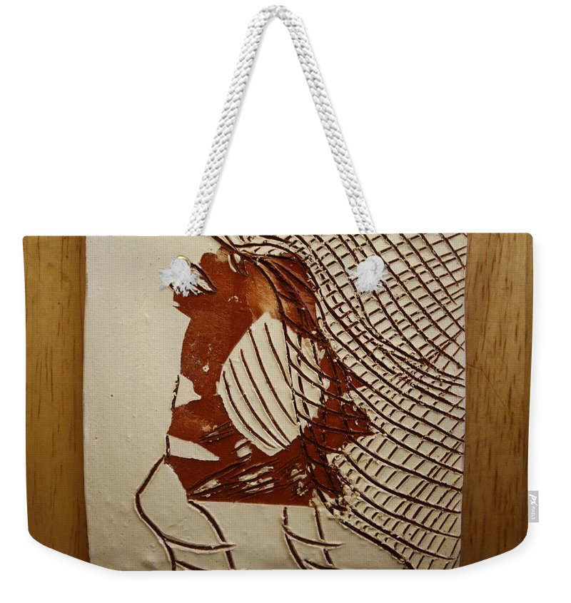 Jesus Weekender Tote Bag featuring the ceramic art Myra - Tile by Gloria Ssali