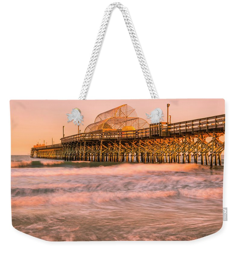 Myrtle Beach Weekender Tote Bag featuring the photograph Myrtle Beach Apache Pier At Sunset Panorama by Ranjay Mitra