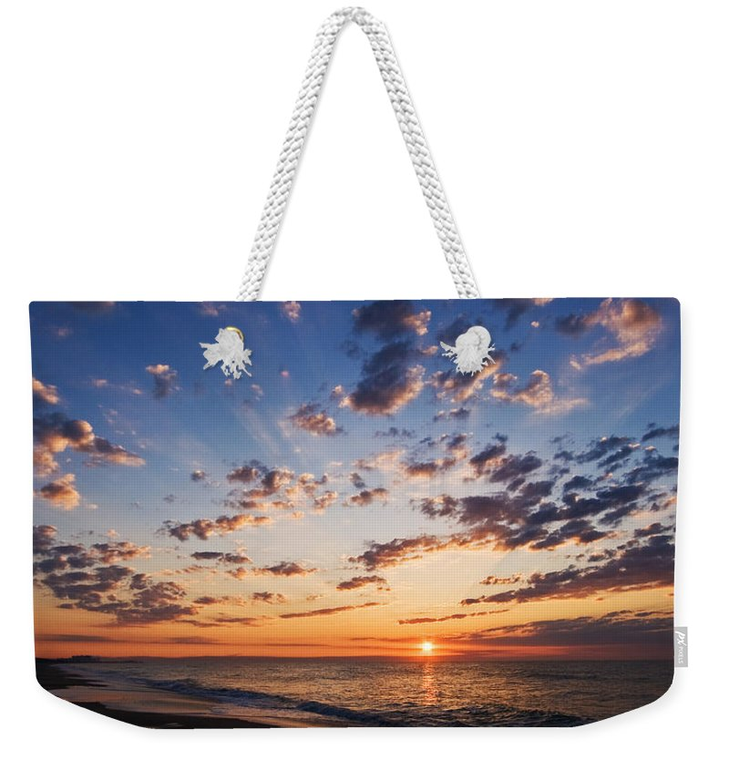 Myrtle Beach Weekender Tote Bag featuring the photograph Myrtle Beach South Carolina Sunrise by Stephanie McDowell