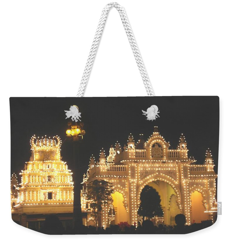 Mysore Weekender Tote Bag featuring the painting Mysore Palace Main Gate Temple Gloriously Lit At Night by Usha Shantharam