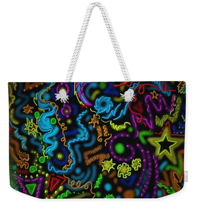 Stars Weekender Tote Bag featuring the painting Mysteries Of The Night by Kevin Caudill
