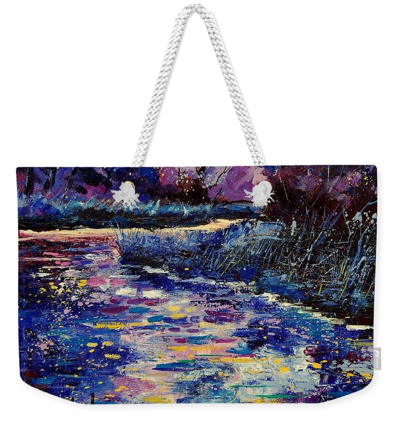 Water Weekender Tote Bag featuring the painting Mysterious Blue Pond by Pol Ledent