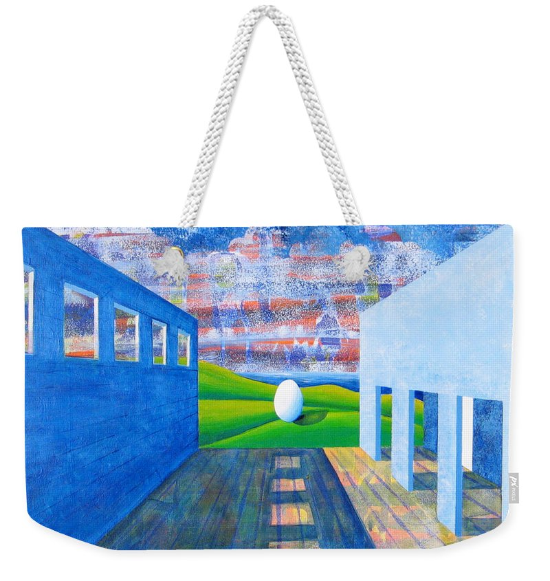 Surrealism Weekender Tote Bag featuring the painting Mystery And Memory by Rollin Kocsis