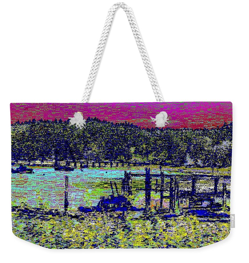 Mystery Bay Weekender Tote Bag featuring the digital art Mystery Bay At Sunset by Tim Allen