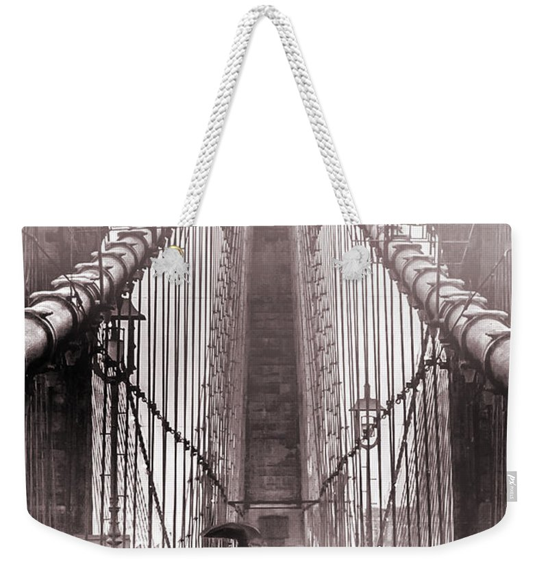Brooklyn Bridge Weekender Tote Bag featuring the photograph Mystery Man Of Brooklyn by Az Jackson