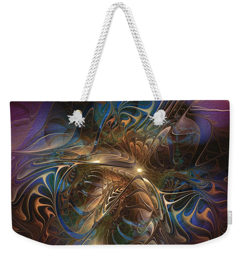 Abstract Weekender Tote Bag featuring the digital art Mystery Spread Its Cloak by Casey Kotas