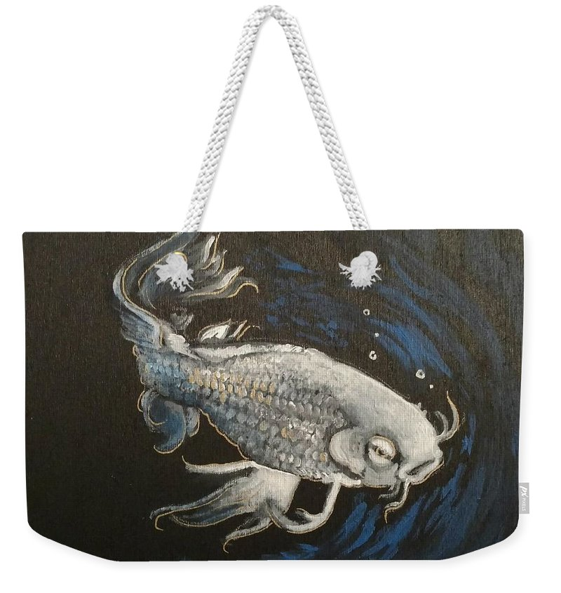 White And Gold Koi Fish In Blue Water With Peebles Weekender Tote Bag featuring the painting Mystic Koi by Kevin F Bell