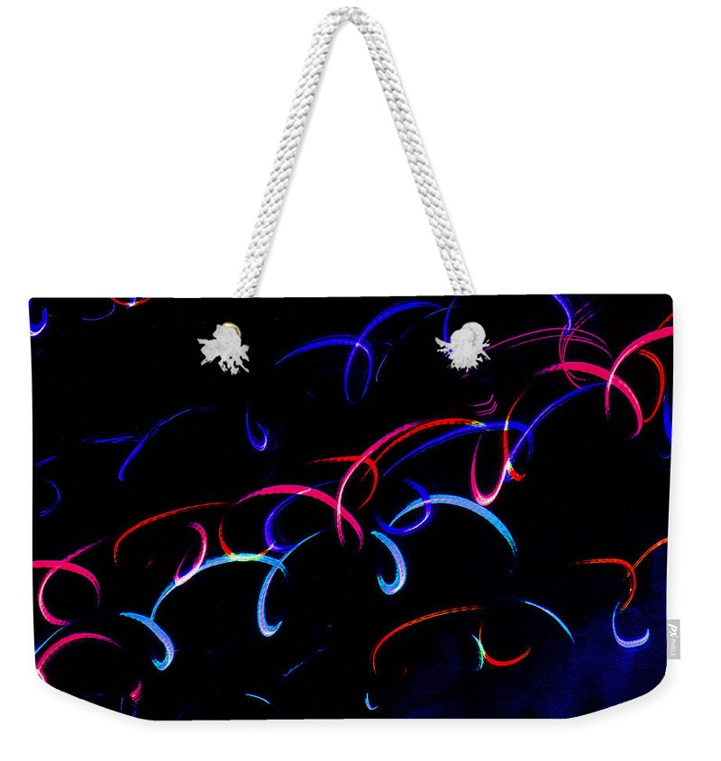 Mystic Lights Weekender Tote Bag featuring the digital art Mystic Lights 13 by Donna Corless