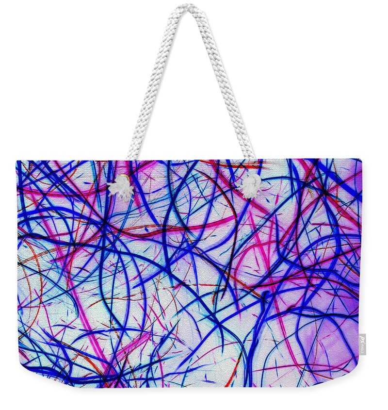 Abstract Weekender Tote Bag featuring the digital art Mystic Lights 3 by Donna Corless
