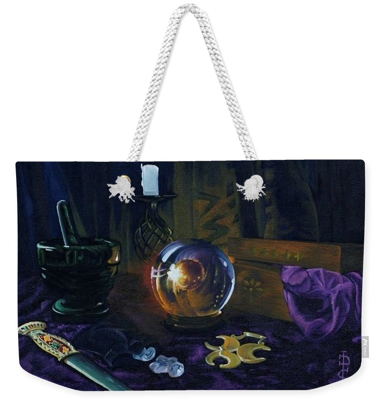 Still Life Mystic Crystal Ball Pestle Mortar Knife Runes Horse Brasspuple Silk Candle Weekender Tote Bag featuring the painting Mystic Still Life by Pauline Sharp