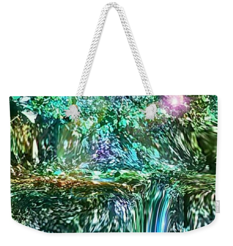 Blue Waterfall Weekender Tote Bag featuring the photograph Mystic Waterfall by Cristina Izzi