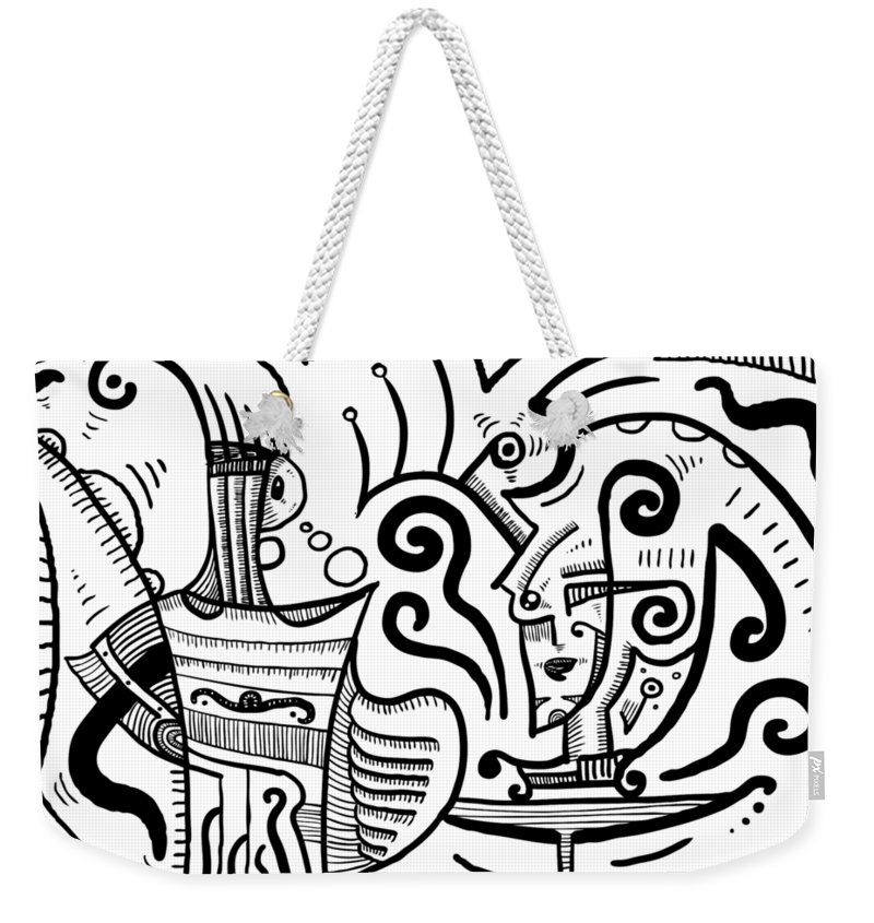 Magic Weekender Tote Bag featuring the drawing Mystical Powers - Surrealism by Sotuland Art