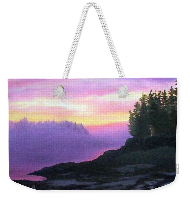 Sunset Weekender Tote Bag featuring the painting Mystical Sunset by Sharon E Allen