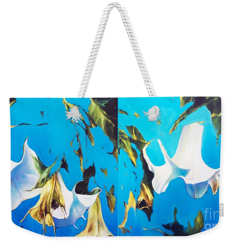Lin Petershagen Weekender Tote Bag featuring the painting Mysticoblue by Lin Petershagen