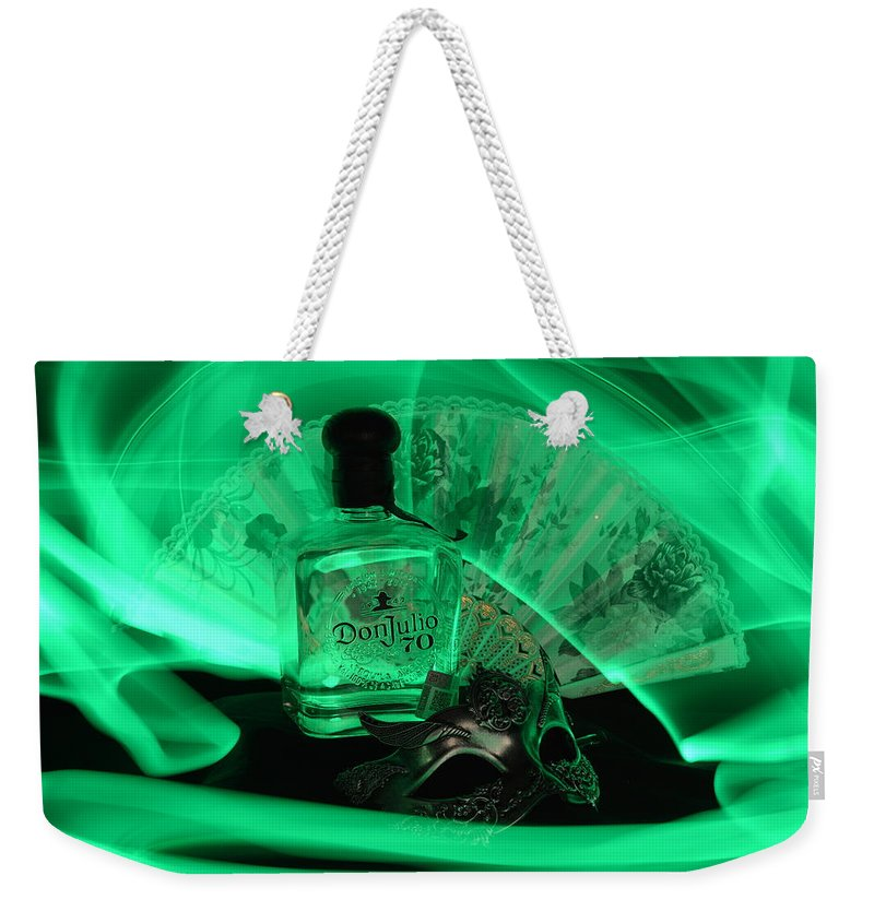 Bottle Weekender Tote Bag featuring the photograph Mystique Green by Paulina Roybal