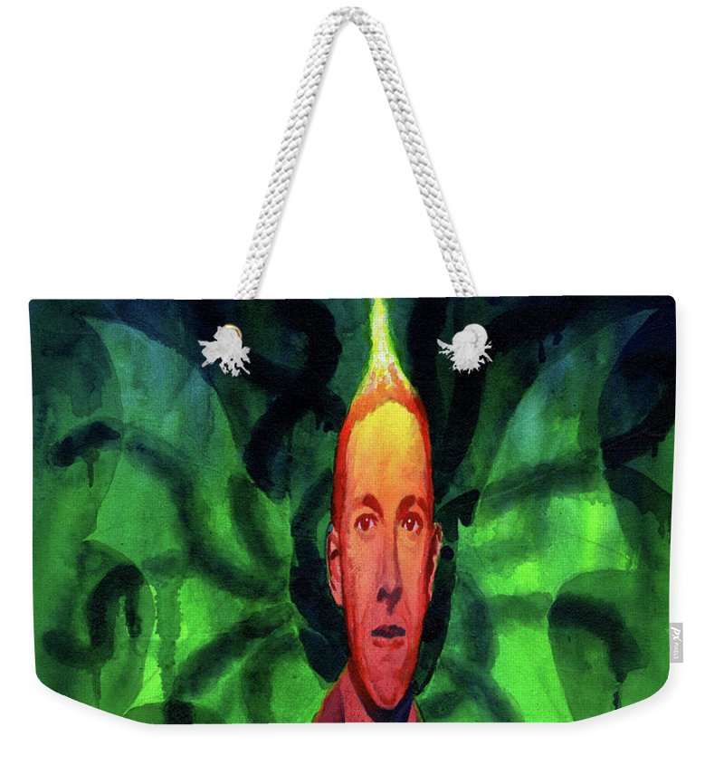Lovecraft Weekender Tote Bag featuring the painting Mythos by Ken Meyer