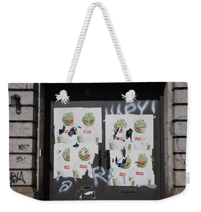 Kermit The Frog Weekender Tote Bag featuring the photograph N Y C Kermit by Rob Hans