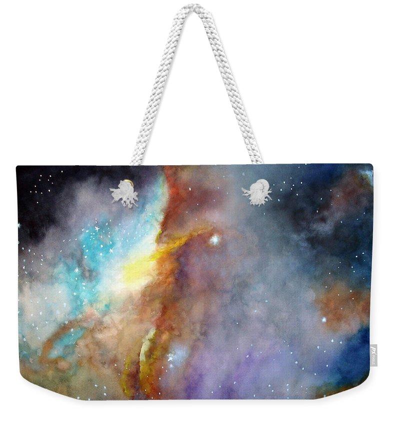N11b Large Magellanic Cloud Weekender Tote Bag featuring the painting N11b Large Magellanic Cloud by Allison Ashton