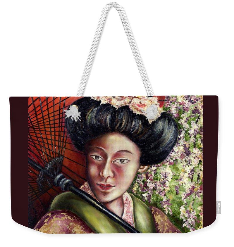 Japanese Weekender Tote Bag featuring the painting Nadeshiko by Hiroko Sakai
