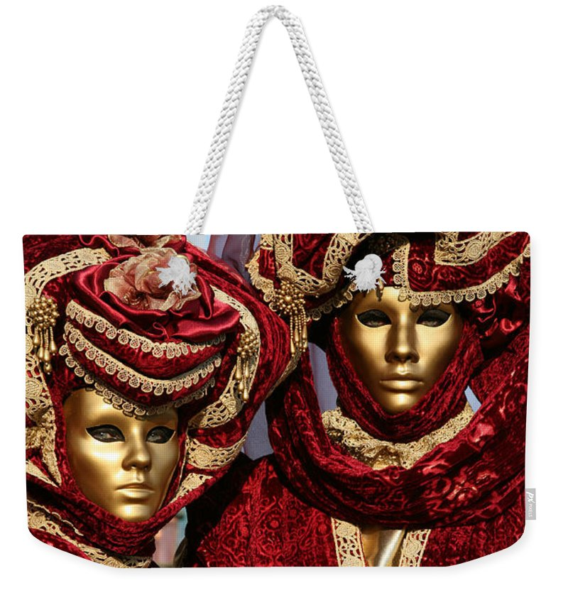 Venice Carnival Weekender Tote Bag featuring the photograph Nadine And Daniel In Red 2 by Donna Corless