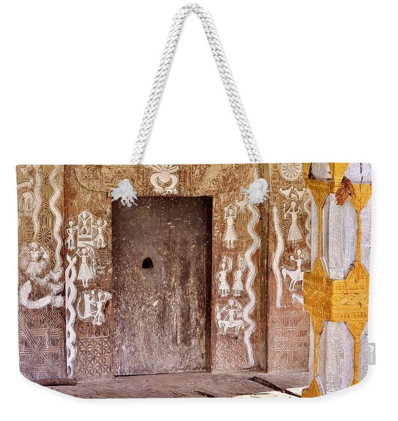 Temple Weekender Tote Bag featuring the photograph Nag Temple Doorway - Huri India by Kim Bemis