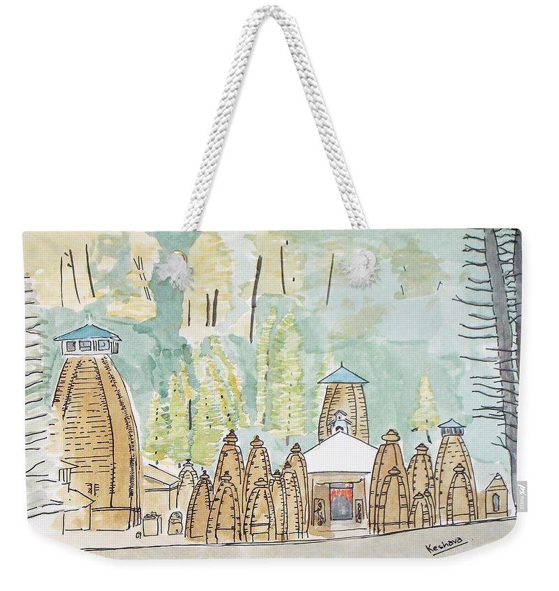Nagesh Weekender Tote Bag featuring the painting Nagesh Jyotirling by Keshava Shukla