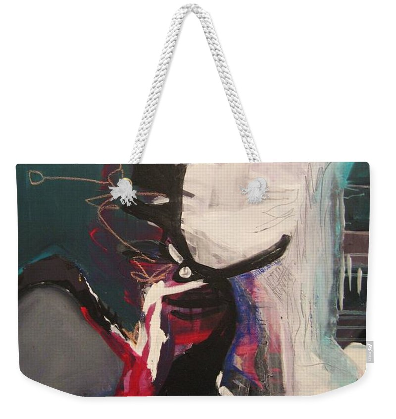 Abstract Art Paintings Weekender Tote Bag featuring the painting Nagging Voice by Seon-Jeong Kim