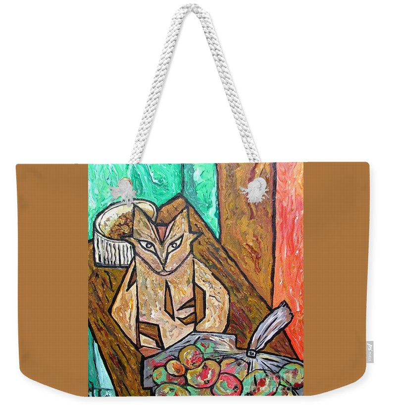 Cat Weekender Tote Bag featuring the painting Naive Cat With Apples by Heather Lennox